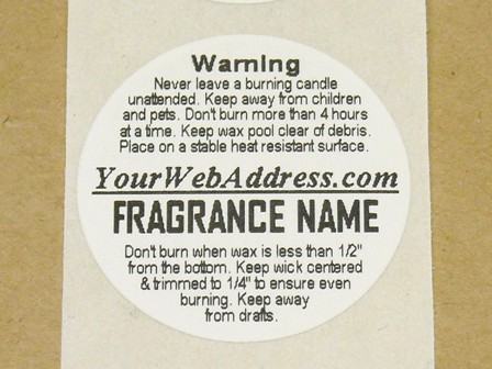 round custom split candle warning labels at candle. Black Bedroom Furniture Sets. Home Design Ideas