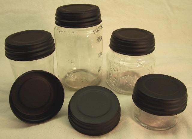 primitive looking standard mason jar lid black candle soylutions. Black Bedroom Furniture Sets. Home Design Ideas